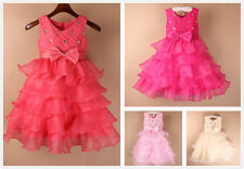 Flower Girl Dress Sparkly Wedding Cake Style Party Bridesmaid Bow Corsage Dress