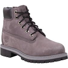 """NEW YOUTH TIMBERLAND 6"""" WATERPROOF PREMIUM BOOTS  [9590R]  GREY NUBUCK LEATHER"""