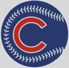 Cross stitch chart, Pattern, Chicago Cubs, Baseball, Major League, MLB