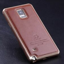 Luxury Genuine Leather Metal Aluminum Frame Case Cover For Samsung Galaxy Note 4