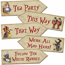 Alice in Wonderland Arrow Quote Signs Prop Mad Hatters Tea Party Decoration