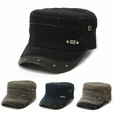 New Leather Visor Vintage Washed Military Hats Army Cadet Unisex Casual Caps
