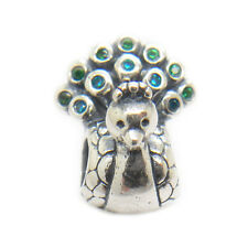 Blue Green Peacock CZ Charm silver bead fit European bracelets Christmas gifts