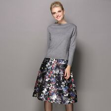 Women's Long Sleeve Off Collar Sweater Knit Tops& Flowers Knee-length Skirt Set