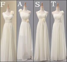 Simple White 4 Type Long Chiffon Party/Prom Gowns Bridesmaids Dresses Free P & P
