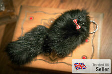 *UK SALE* 3 FOR 2! Real Fluffy Soft Fur Keyring Bag Mobile Charm Retro Cute Gift