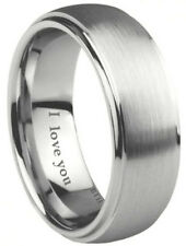 Engraved ''I Love You'' Scratch-Resistant Tungsten Wedding Engagement Band Ring