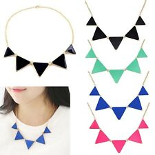 Hot Fashion Geometric Enamel Triangle Pendant Bib Collar Chain Choker Necklace