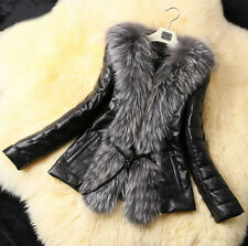Fashion Noble Women Winter Fur Collar Coat Leather Cotton Jacket Overcoat Parka