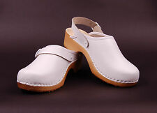 Women's hand made clogs genuine natural leather wooden sole orthopedic