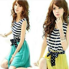 Ladies Chiffon Stripes Dress Sleeveless Scoop Neck Splicing Vest Mini Dress Hot