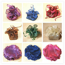 10/20 Circle Organza Bomboniere Wrap Bag Pouch Rolled Edge Wedding 26cm Diameter