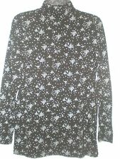 Womens Top Black Shirred Turtleneck White Stag Trees Snowflakes Pattern NWT M S