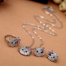 Women Crystal Bowknot Cute Cat Style Necklace Stud Earrings Ring Jewelry Set