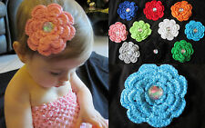 NEW Baby Girl Child CROCHET DAISY FLOWER Barrette Alligator HAIR CLIP Headband