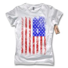 Ladies T-Shirt - USA American Flag Hot Rod 100% Cotton White S M L XL
