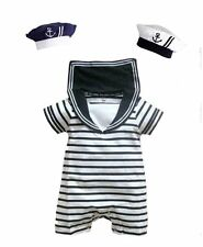 Baby Boy Girl Sailor Carnival Fancy Party Costume Outfit Suit+HAT Set 6-24M