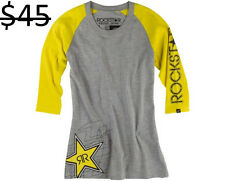 Rockstar Energy One Industries Women 3/4 Sleeve Tee T Shirt Knit Top Apparel