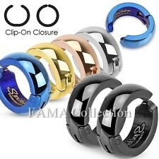 Trendy FAMA Hoop Stainless Steel Non-Piercing Clip On Earrings Select Colour