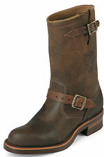 """Chippewa Men's 11"""" Engineer Plain Toe Boots Made in USA Brown 27911 Wide"""