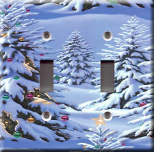 Light Switch Plate Cover - Christmas trees deco - Winter snow cold season star