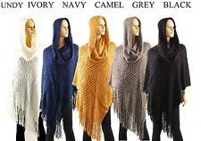 Fringed Knit Poncho Cape Hooded Sweater Cardigan Scarf Coat Pull Over *US SELLER