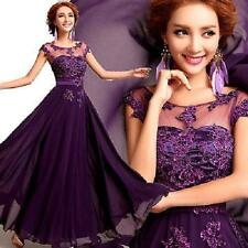 NEW Long Purple Chiffon Formal Dress Bridesmaid Dress Party Prom Ball Gown