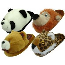 Womens Animal House Slippers Plush Fuzzy Cushion Cozy Bedroom Shoes S, M, L, XL