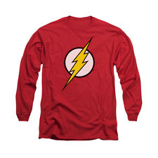 JUSTICE LEAGUE FLASH LOGO Licensed Men's Long Sleeve Graphic Tee Shirt SM-2XL