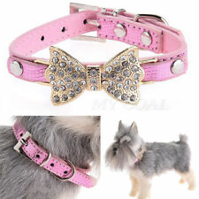 Leather Dog Cat Puppy Collars Rhinestones Chic Bling Crystal bow Buckle Diamond