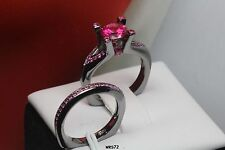 BLACK RHODIUM 925 SILVER PINK SAPPHIRE LADIES NEW WEDDING AND ENGAGEMENT RINGS