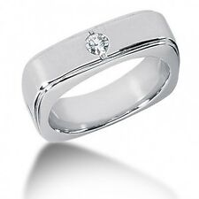 0.20CT Men's Brilliant Cut Diamond Wedding Band Ring 14kt White Gold