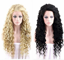 Fashion Sexy Ladies Long Black blonde Cosplay Party Curly Wigs+Free Wig Cap