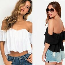 Stone Cold Fox Replica Holy Tube Off The Shoulder Blouse Black Crop Top Low Back