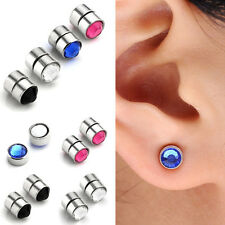 2pcs Stainless Steel Fake Magnetic Crystal Nose Ear Lip Rings Studs Non Piercing