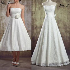 Strapless Lace Long Retro Wedding Dresses A-Line Lace Bridal Tea Length Dresses