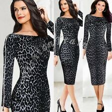 Women Celeb Leopard Animal Print Club Cocktail Party Bodycon Pencil Midi Dress