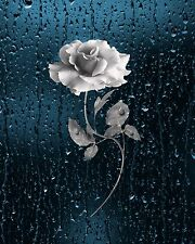 Blue Gray Wall Art/Rose Flower/Rain/Bathroom/Bedroom Decor Matted Picture