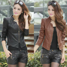 Fashion Vintage Women Slim Biker Motorcycle PU Soft Leather Zipper Jacket Coat #