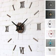 Retro Style DIY Wall 3D Clock Roman Numbers Home Decor Ancient Vintage Style