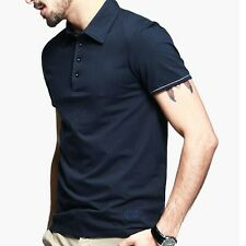 Mens Casual T-shirt Short Sleeve Cotton Button Front Lapel Solid KPT-901.M
