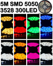 5M 3528 5050 RGB SMD (Non)Waterproof 300 LED Strip Light String Ribbon Tape Roll