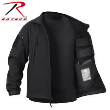 Black Waterproof Police Tactical Concealed Carry Soft Shell Jacket Coat 55385