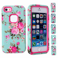 CHEAP 3 Layers Silicon Protector Perfect Floral Case Cover for Apple iPhone 5C