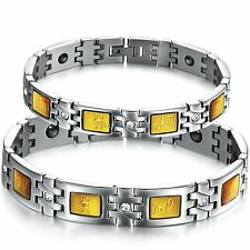 Silver Stainless Steel Link Chain Magnetic Six Words Bracelet Mens Womens Gifts