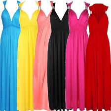Jersey Grecian Style Party Stretch Full Length Coil Maxi Dress 10-16 *FREE GIFT*
