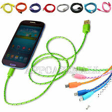 Fabric Micro USB 2.0 Sync Data Charger Cable Cord for Andriod Phone 3Ft 6Ft 10Ft