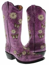 Womens cowboy boots ladies leather embroider butterfly flower rhinestone crystal