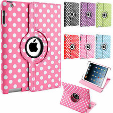 360 DEGREE ROTATING POLKA DOTS LEATHER STAND CASE COVER FOR APPLE iPad 4 3 2