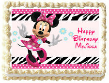MINNIE MOUSE Birthday Edible image Cake topper
